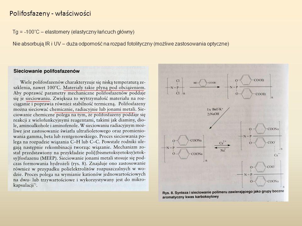 Polifosfazeny - właściwości Tg = -100˚C – elastomery (elastyczny łańcuch główny) Nie absorbują IR i UV – duża odporność na rozpad fotolityczny (możliw