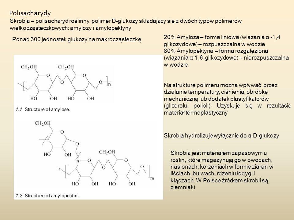 Polisacharydy Skrobia – polisacharyd roślinny, polimer D-glukozy składający się z dwóch typów polimerów wielkocząsteczkowych: amylozy i amylopektyny 2