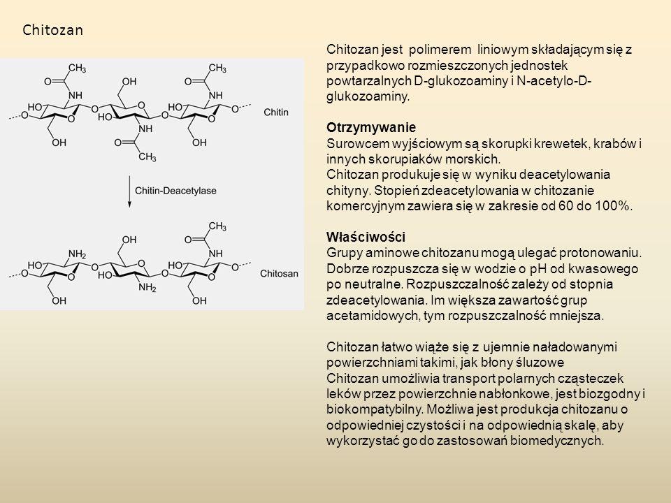 Chitozan Chitozan jest polimerem liniowym składającym się z przypadkowo rozmieszczonych jednostek powtarzalnych D-glukozoaminy i N-acetylo-D- glukozoa