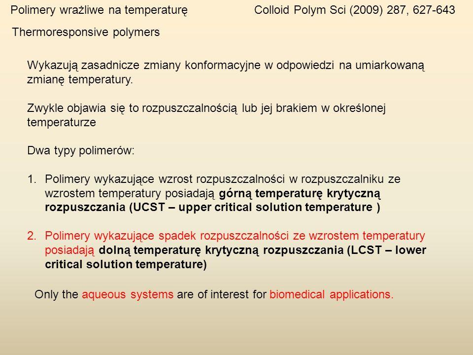 Polimery wrażliwe na temperaturę Colloid Polym Sci (2009) 287, 627-643 Wykazują zasadnicze zmiany konformacyjne w odpowiedzi na umiarkowaną zmianę tem