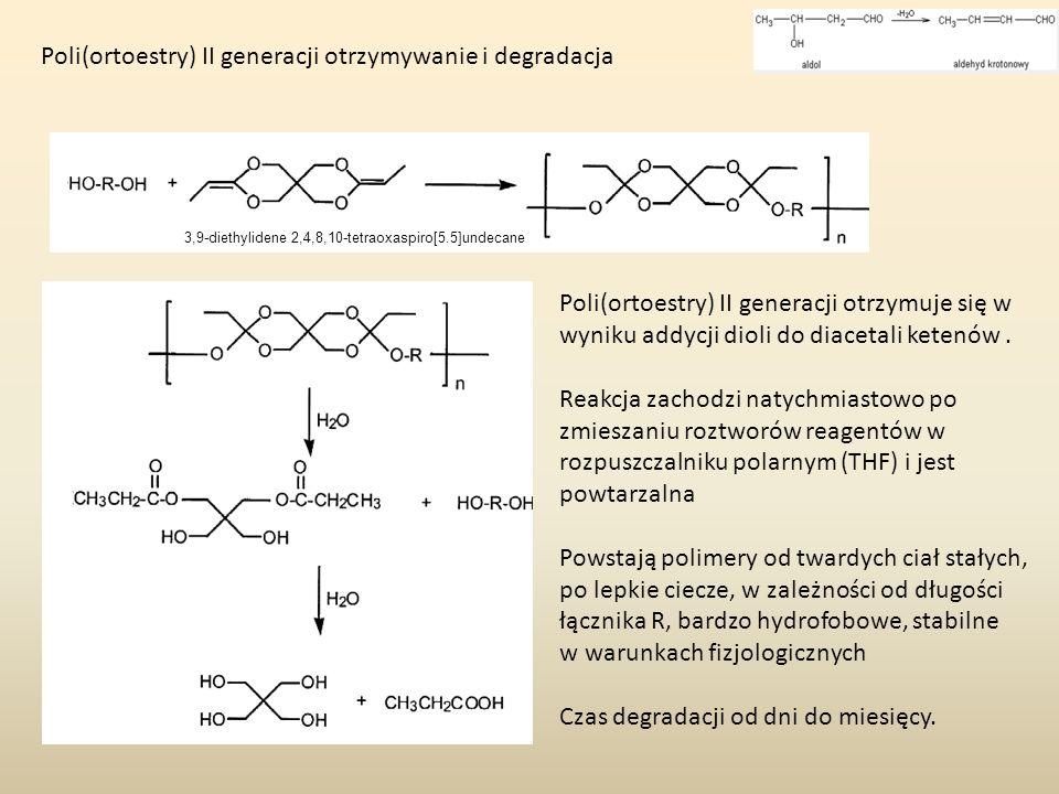 Poli(ortoestry) II generacji otrzymywanie i degradacja 3,9-diethylidene 2,4,8,10-tetraoxaspiro[5.5]undecane Poli(ortoestry) II generacji otrzymuje się