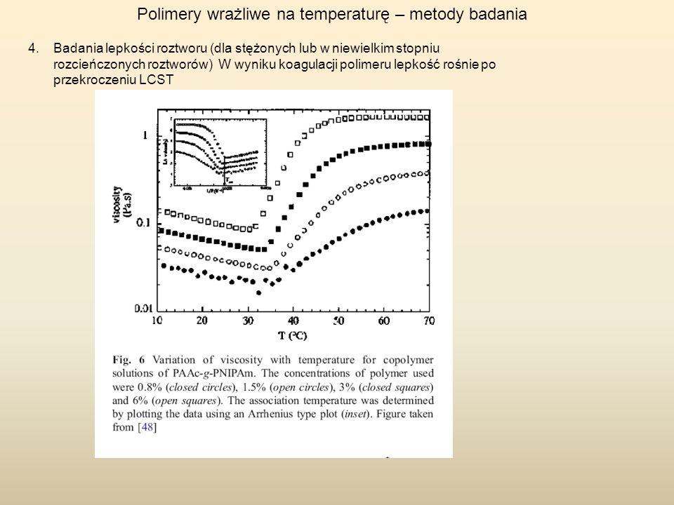 Polimery wrażliwe na temperaturę – metody badania 4.Badania lepkości roztworu (dla stężonych lub w niewielkim stopniu rozcieńczonych roztworów) W wyni