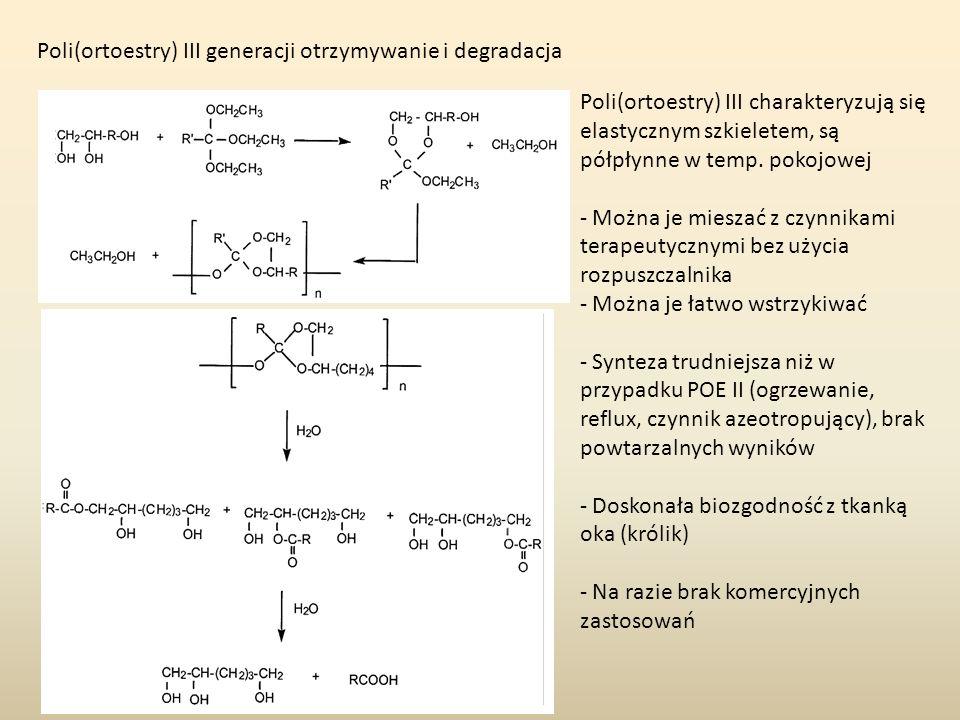 Poli(ortoestry) IV generacji otrzymywanie i degradacja Poli(ortoestry) IV są modyfikacją POE II, która pozwala na kontrolę szybkości erozji polimeru bez obniżania pH.
