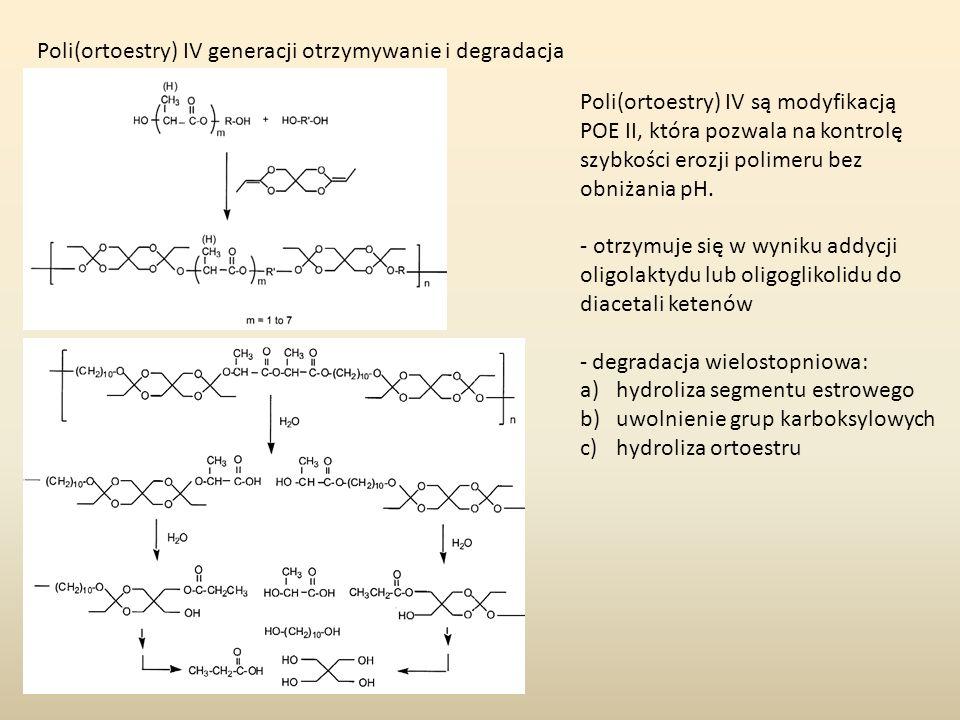 Poli(ortoestry) IV generacji otrzymywanie i degradacja Poli(ortoestry) IV są modyfikacją POE II, która pozwala na kontrolę szybkości erozji polimeru b