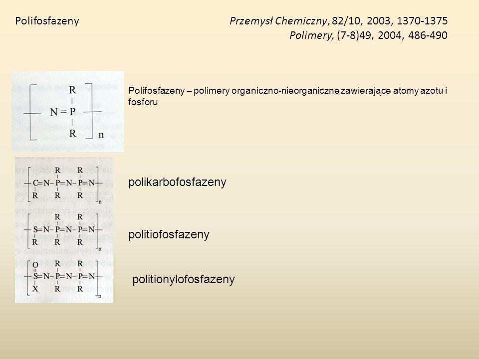 Polifosfazeny Przemysł Chemiczny, 82/10, 2003, 1370-1375 Polimery, (7-8)49, 2004, 486-490 Polifosfazeny – polimery organiczno-nieorganiczne zawierając