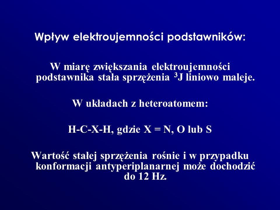 Wpływ elektroujemności podstawników: W miarę zwiększania elektroujemności podstawnika stała sprzężenia 3 J liniowo maleje. W układach z heteroatomem: