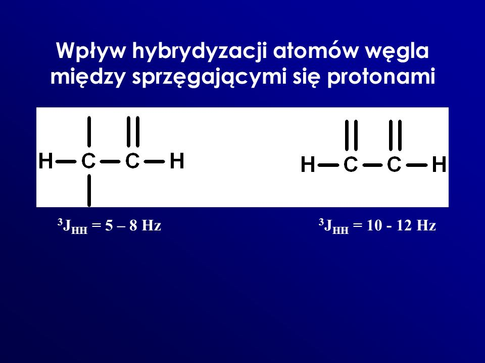 Wpływ hybrydyzacji atomów węgla między sprzęgającymi się protonami 3 J HH = 5 – 8 Hz 3 J HH = 10 - 12 Hz
