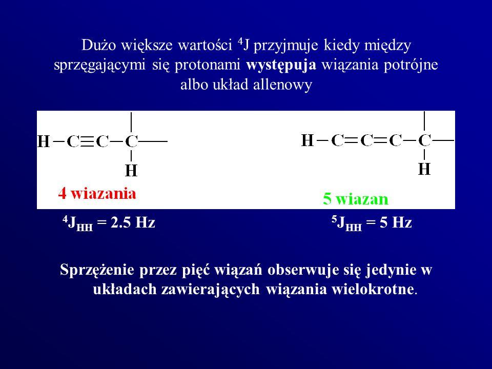 Dużo większe wartości 4 J przyjmuje kiedy między sprzęgającymi się protonami występuja wiązania potrójne albo układ allenowy 4 J HH = 2.5 Hz 5 J HH =