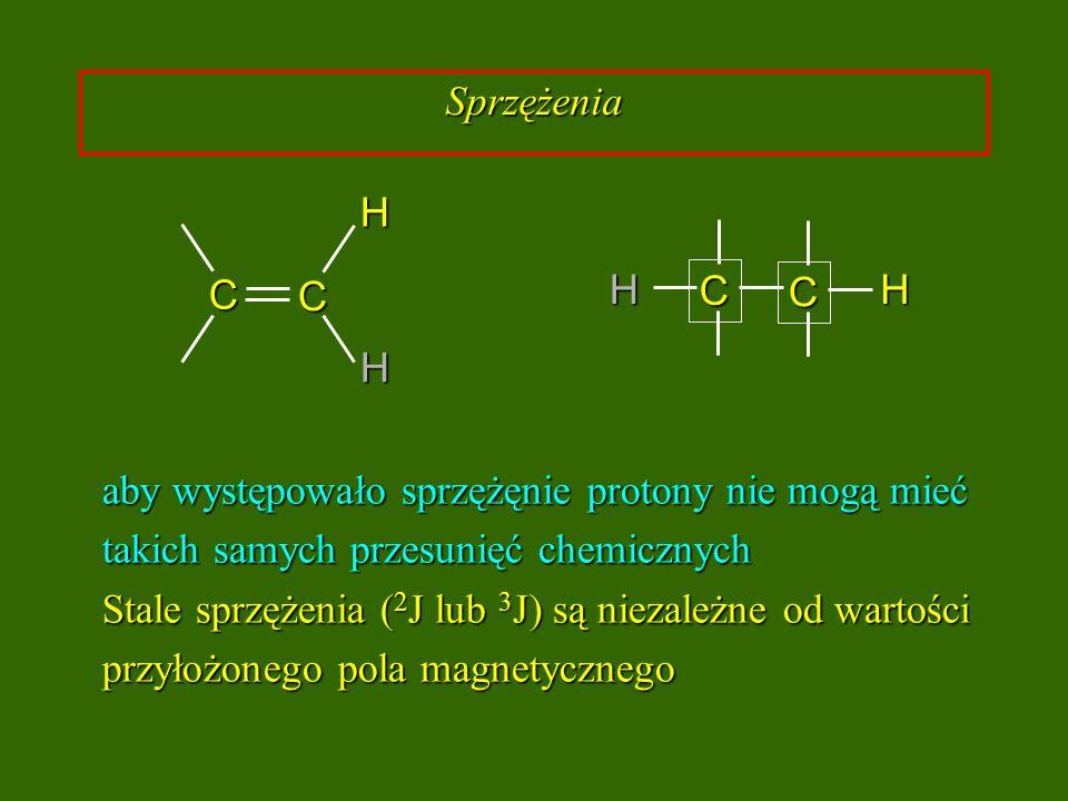 aby występowało sprzężęnie protony nie mogą mieć takich samych przesunięć chemicznych Stale sprzężenia ( 2 J lub 3 J) są niezależne od wartości przyło