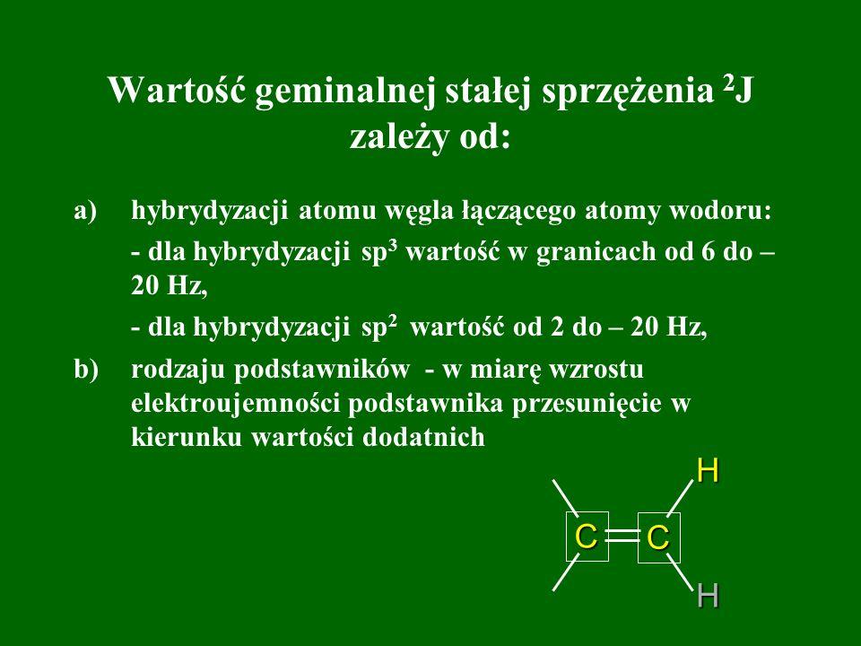 Wartość geminalnej stałej sprzężenia 2 J zależy od: a)hybrydyzacji atomu węgla łączącego atomy wodoru: - dla hybrydyzacji sp 3 wartość w granicach od