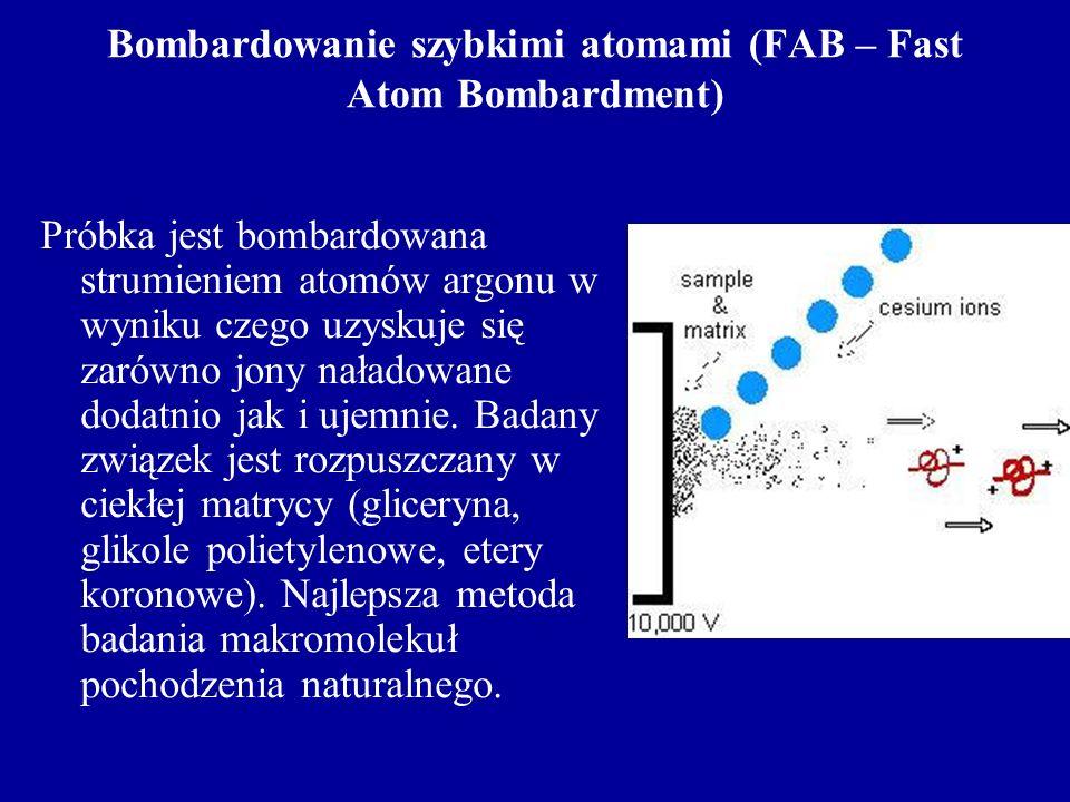 Bombardowanie szybkimi atomami (FAB – Fast Atom Bombardment) Próbka jest bombardowana strumieniem atomów argonu w wyniku czego uzyskuje się zarówno jo