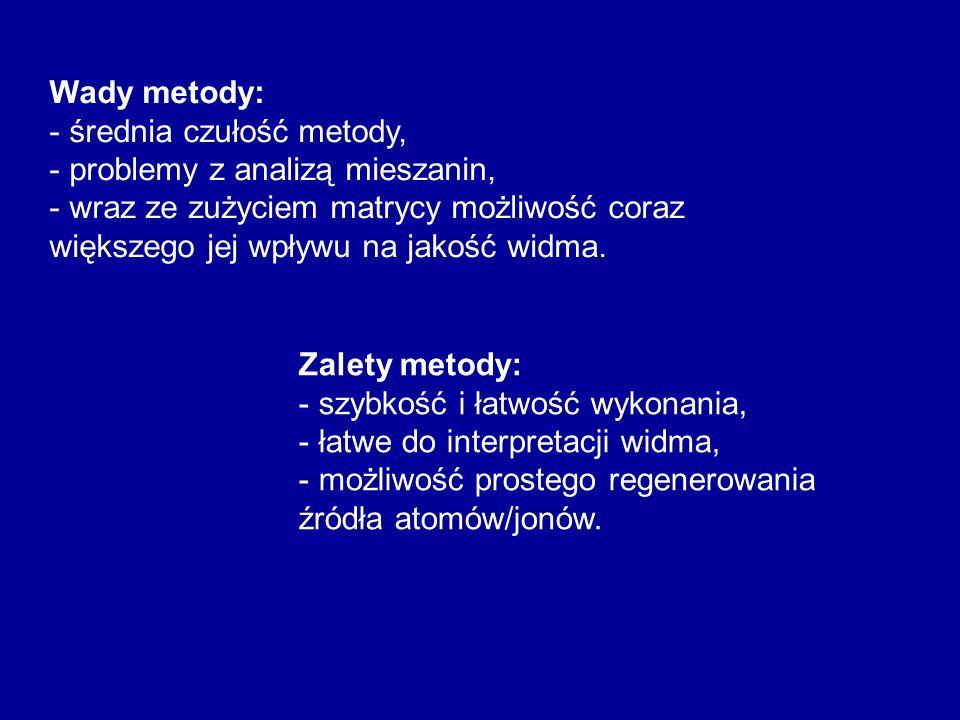 Wady metody: - średnia czułość metody, - problemy z analizą mieszanin, - wraz ze zużyciem matrycy możliwość coraz większego jej wpływu na jakość widma