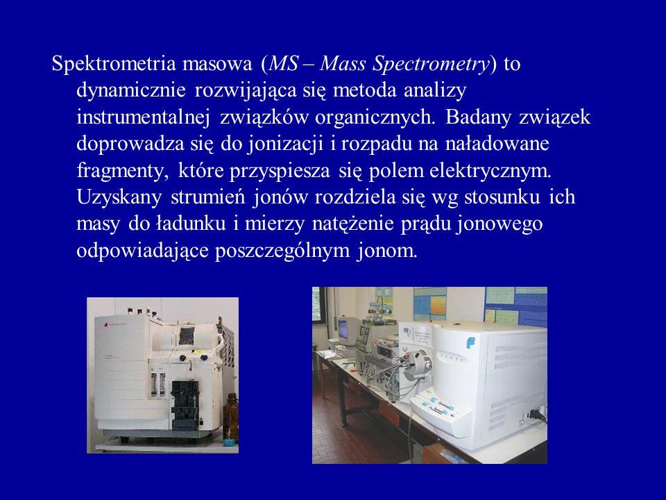 Interpretacja widma masowego Pik główny (podstawowy) – pik o największej intensywności określanej jako 100% Pik jonu molekularnego (macierzysty) M + - odpowiada strukturze kationorodnika czyli masie badanego związku Piki izotopowe – towarzyszą jonom molekularnym, powstają w wyniku różnego składu izotopowego związku