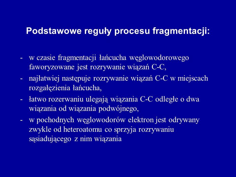 Podstawowe reguły procesu fragmentacji: -w czasie fragmentacji łańcucha węglowodorowego faworyzowane jest rozrywanie wiązań C-C, -najłatwiej następuje