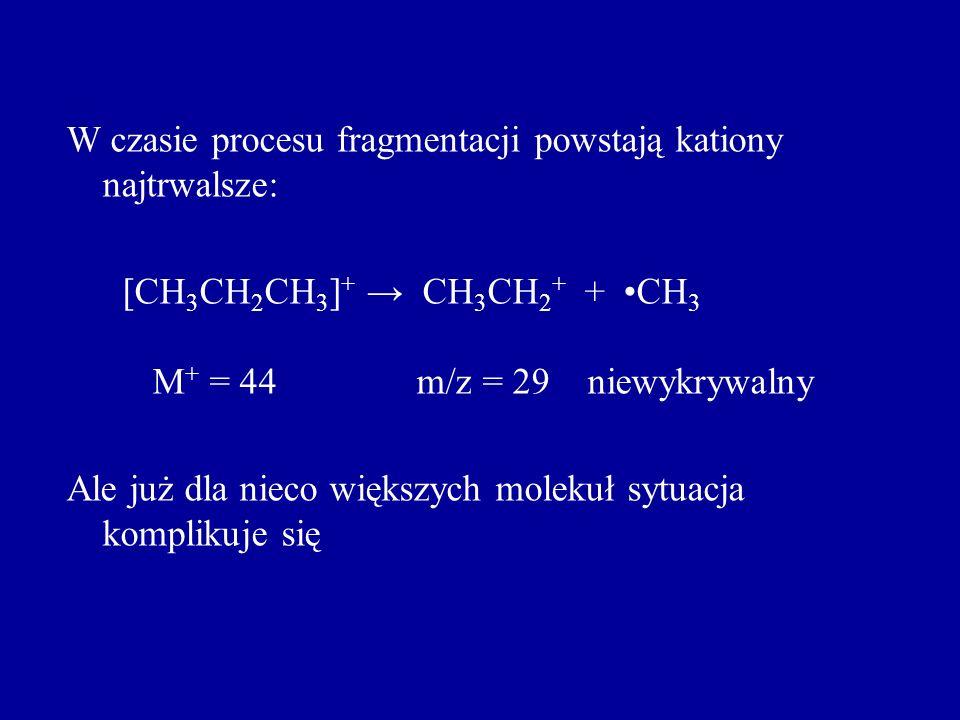 W czasie procesu fragmentacji powstają kationy najtrwalsze: [CH 3 CH 2 CH 3 ] + CH 3 CH 2 + + CH 3 M + = 44 m/z = 29 niewykrywalny Ale już dla nieco w