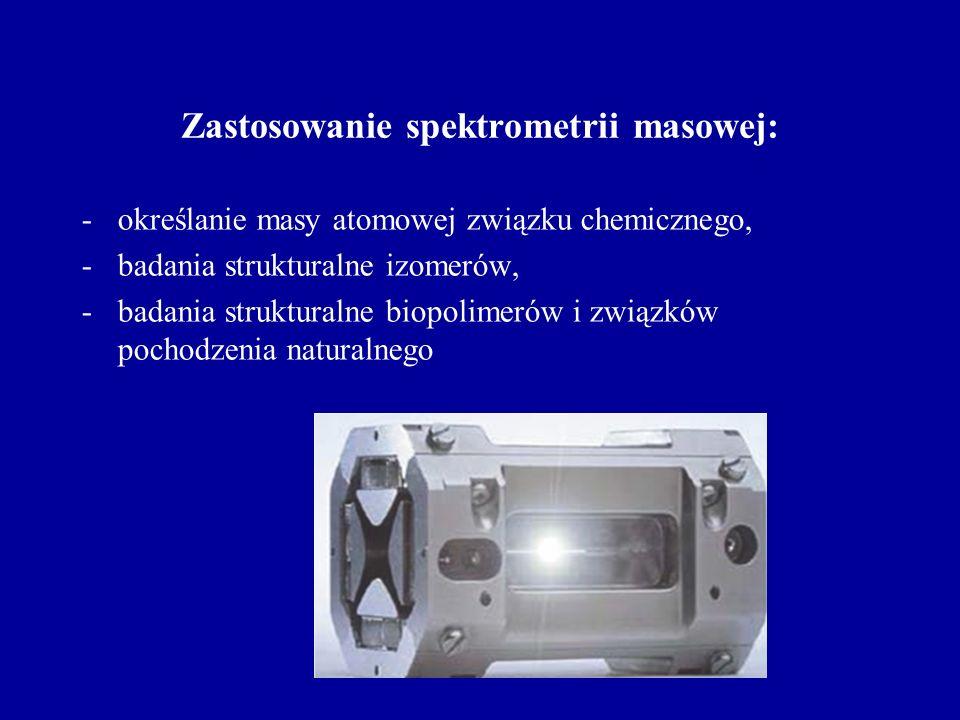Zastosowanie spektrometrii masowej: -określanie masy atomowej związku chemicznego, -badania strukturalne izomerów, -badania strukturalne biopolimerów