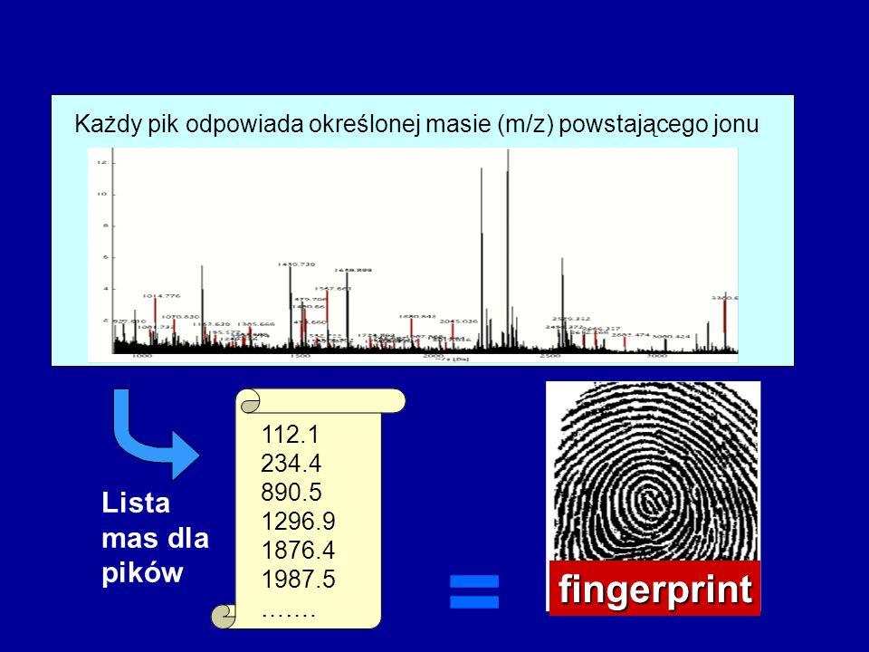 Każdy pik odpowiada określonej masie (m/z) powstającego jonu Lista mas dla pików 112.1 234.4 890.5 1296.9 1876.4 1987.5 ……. = fingerprint