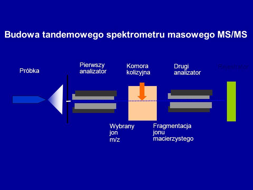 Budowa tandemowego spektrometru masowego MS/MS Próbka Pierwszy analizator Drugi analizator Komora kolizyjna Wybrany jon m/z Fragmentacja jonu macierzy