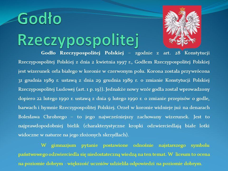 Godło Rzeczypospolitej Polskiej – zgodnie z art. 28 Konstytucji Rzeczypospolitej Polskiej z dnia 2 kwietnia 1997 r., Godłem Rzeczypospolitej Polskiej