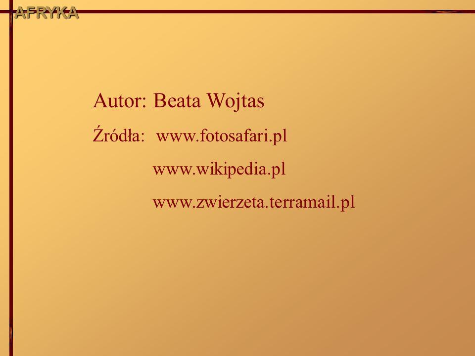 AFRYKA Autor: Beata Wojtas Źródła: www.fotosafari.pl www.wikipedia.pl www.zwierzeta.terramail.pl