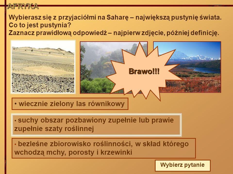 AFRYKA Wybierasz się z przyjaciółmi na Saharę – największą pustynię świata. Co to jest pustynia? Zaznacz prawidłową odpowiedź – najpierw zdjęcie, późn