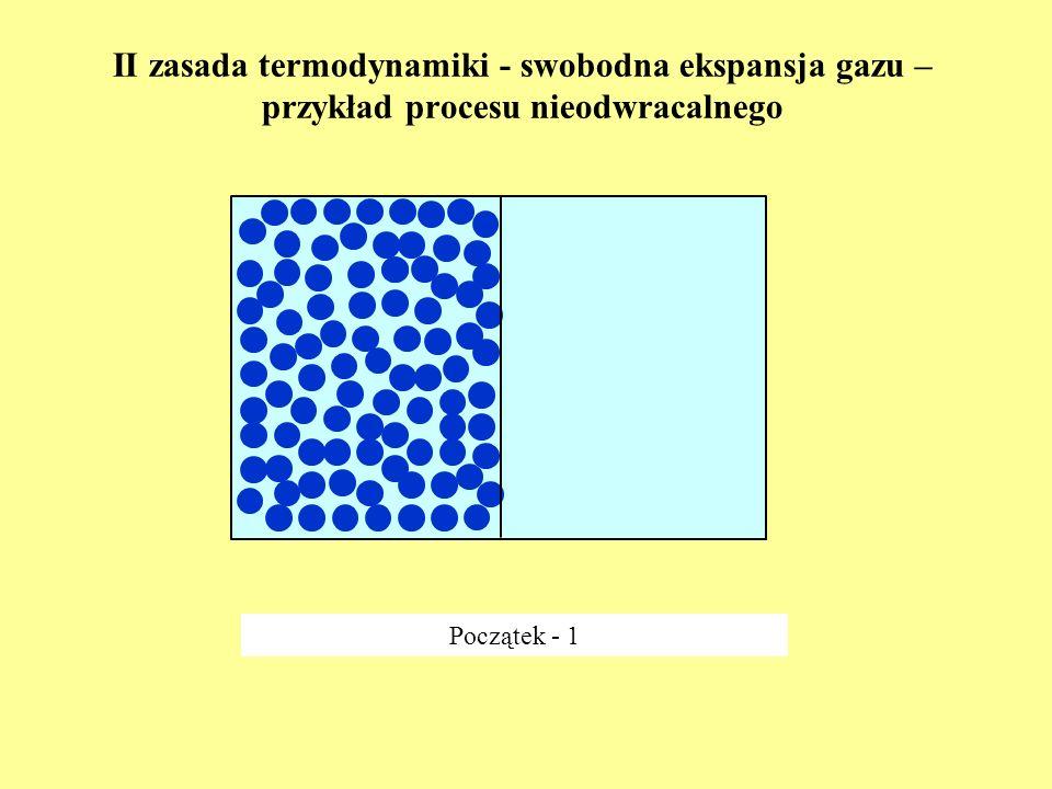 II zasada termodynamiki - swobodna ekspansja gazu – przykład procesu nieodwracalnego Początek - 1