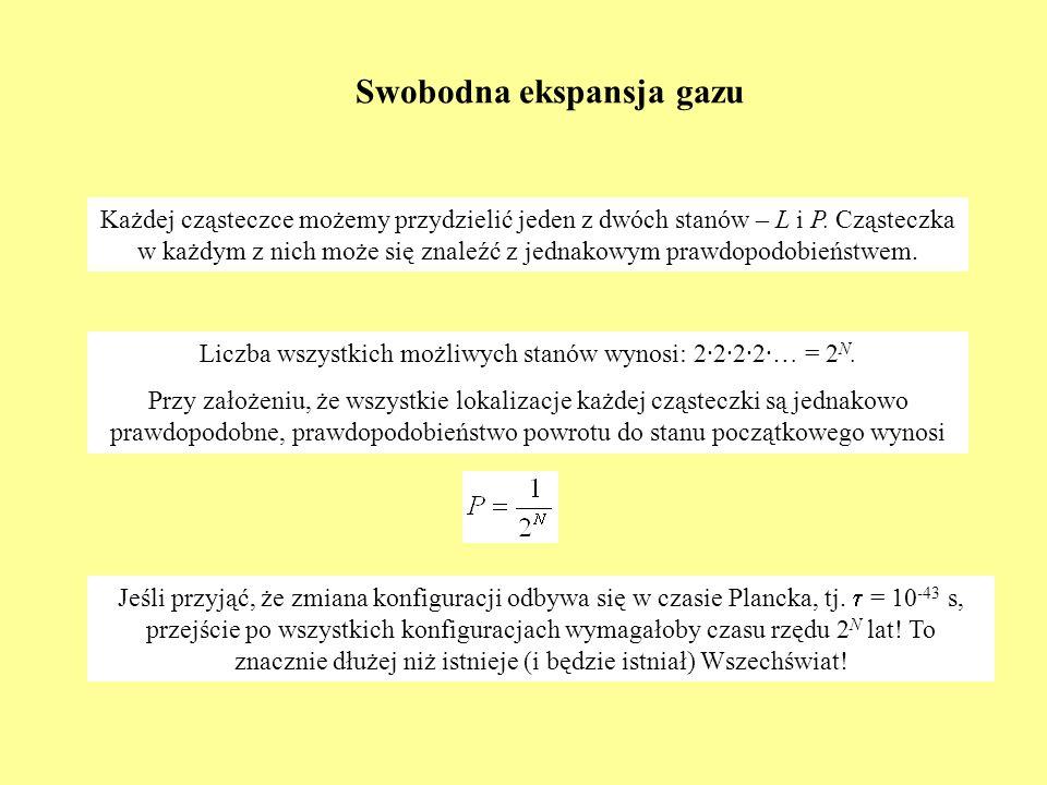 Swobodna ekspansja gazu Każdej cząsteczce możemy przydzielić jeden z dwóch stanów – L i P. Cząsteczka w każdym z nich może się znaleźć z jednakowym pr