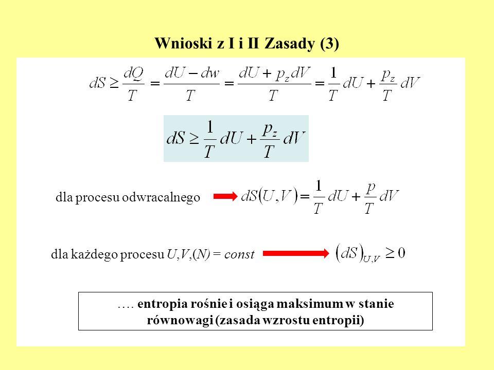 Wnioski z I i II Zasady (3) dla procesu odwracalnego dla każdego procesu U,V,(N) = const …. entropia rośnie i osiąga maksimum w stanie równowagi (zasa