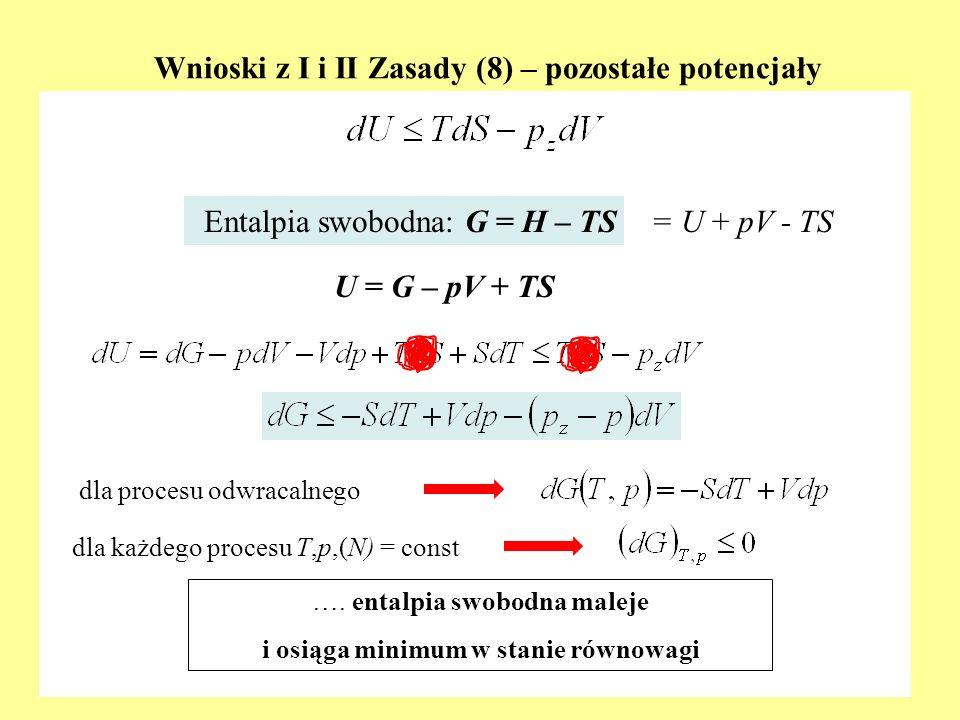Wnioski z I i II Zasady (8) – pozostałe potencjały dla procesu odwracalnego Entalpia swobodna: G = H – TS ….