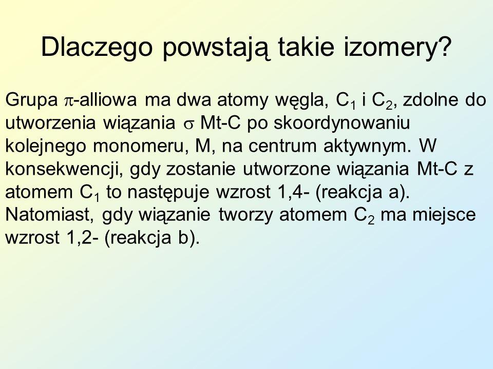 Dlaczego powstają takie izomery? Grupa -alliowa ma dwa atomy węgla, C 1 i C 2, zdolne do utworzenia wiązania Mt-C po skoordynowaniu kolejnego monomeru