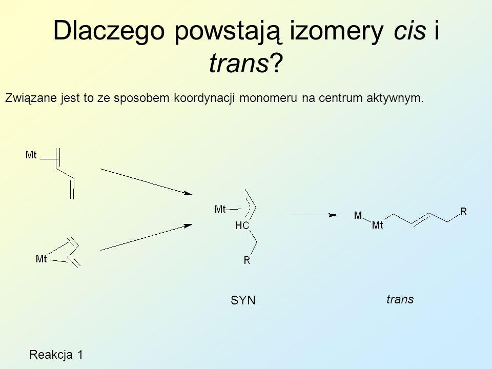 Dlaczego powstają izomery cis i trans? Związane jest to ze sposobem koordynacji monomeru na centrum aktywnym. SYN trans Reakcja 1