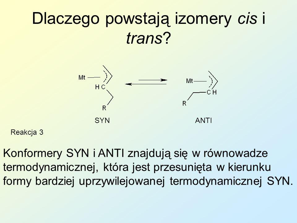 Dlaczego powstają izomery cis i trans? Konformery SYN i ANTI znajdują się w równowadze termodynamicznej, która jest przesunięta w kierunku formy bardz