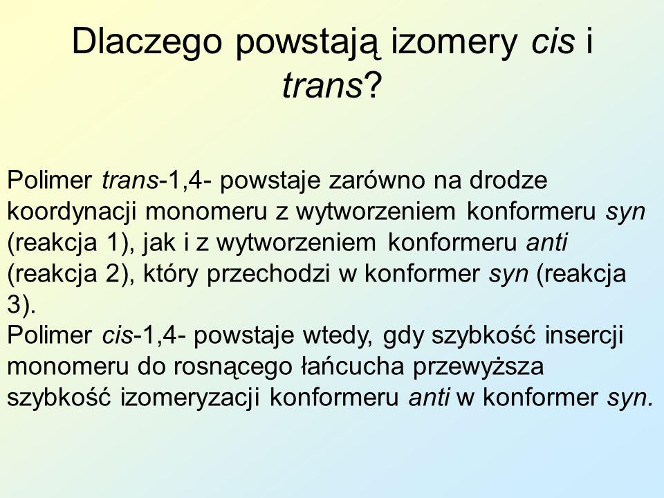Dlaczego powstają izomery cis i trans? Polimer trans-1,4- powstaje zarówno na drodze koordynacji monomeru z wytworzeniem konformeru syn (reakcja 1), j