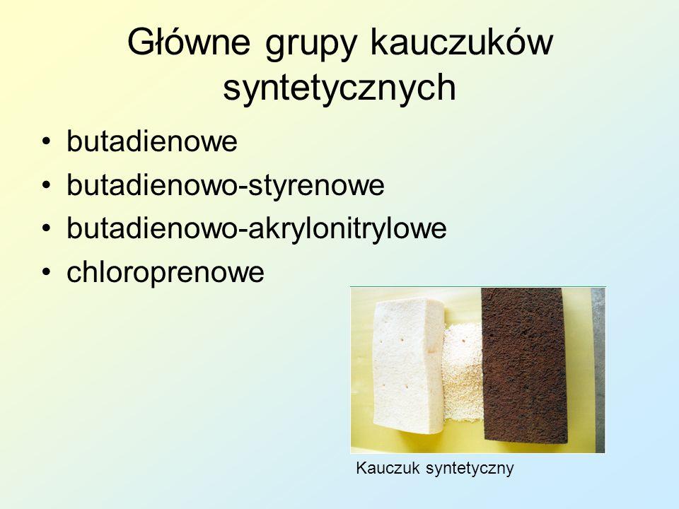 Główne grupy kauczuków syntetycznych butadienowe butadienowo-styrenowe butadienowo-akrylonitrylowe chloroprenowe Kauczuk syntetyczny