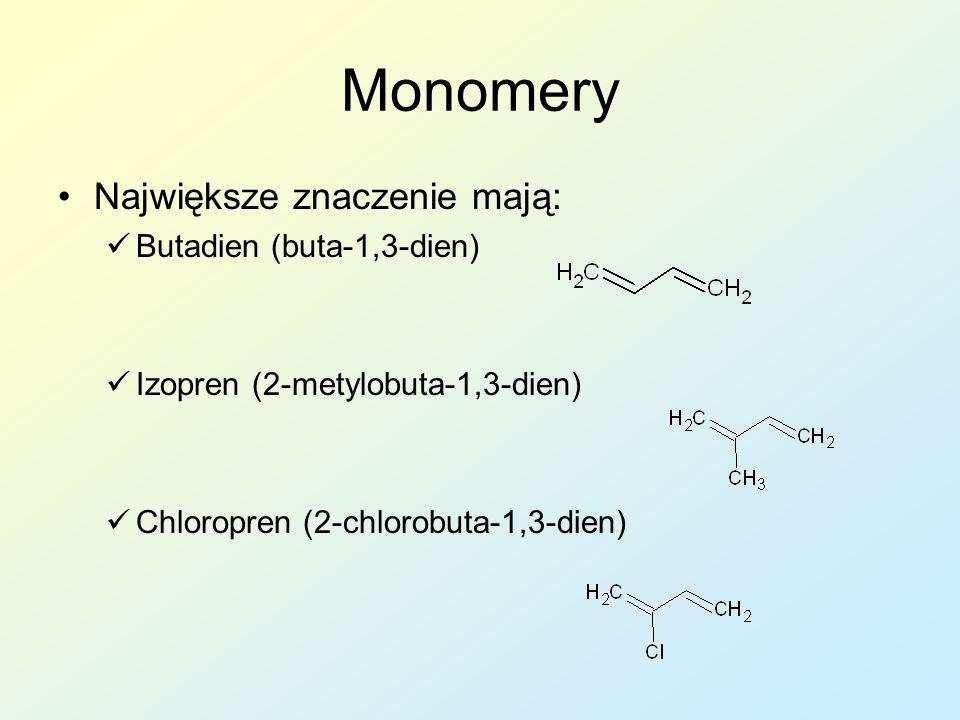 Monomery Największe znaczenie mają: Butadien (buta-1,3-dien) Izopren (2-metylobuta-1,3-dien) Chloropren (2-chlorobuta-1,3-dien)