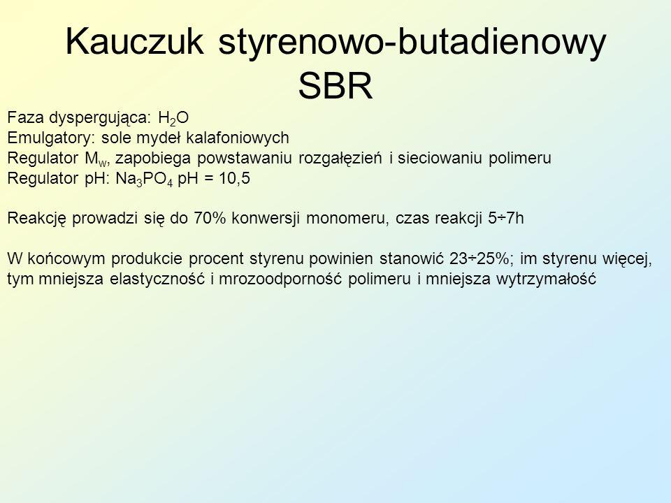 Faza dyspergująca: H 2 O Emulgatory: sole mydeł kalafoniowych Regulator M w, zapobiega powstawaniu rozgałęzień i sieciowaniu polimeru Regulator pH: Na