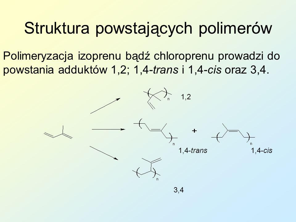 Struktura powstających polimerów Polimeryzacja izoprenu bądź chloroprenu prowadzi do powstania adduktów 1,2; 1,4-trans i 1,4-cis oraz 3,4. 1,2 1,4-tra