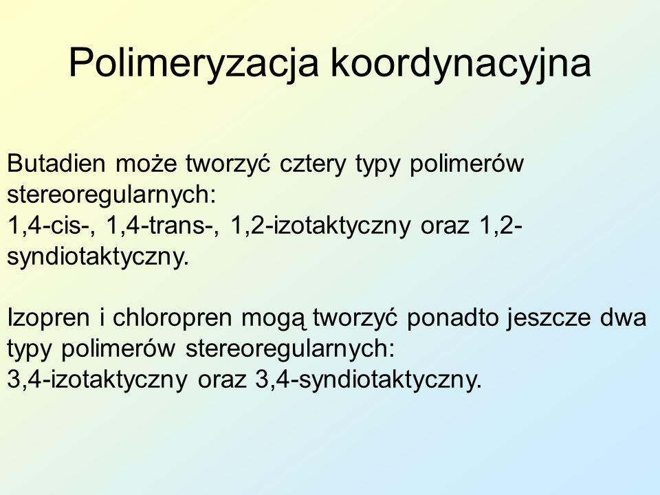 Faza dyspergująca: H 2 O Emulgatory: sole mydeł kalafoniowych Regulator M w, zapobiega powstawaniu rozgałęzień i sieciowaniu polimeru Regulator pH: Na 3 PO 4 pH = 10,5 Reakcję prowadzi się do 70% konwersji monomeru, czas reakcji 5÷7h W końcowym produkcie procent styrenu powinien stanowić 23÷25%; im styrenu więcej, tym mniejsza elastyczność i mrozoodporność polimeru i mniejsza wytrzymałość Kauczuk styrenowo-butadienowy SBR