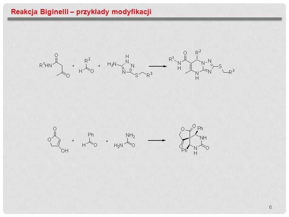 7 Reakcja Biginelli – znaczenie od lat 80 reakcja Biginelli jest intensywnie badana i wykorzystywana do tworzenia bibliotek (jest jedną z najlepiej przebadanych reakcji MCR) Kappe O.