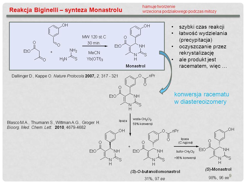 9 Reakcja Biginelli – synteza Monastrolu Dallinger D., Kappe O. Nature Protocols 2007, 2, 317 - 321 hamuje tworzenie wrzeciona podziałowego podczas mi
