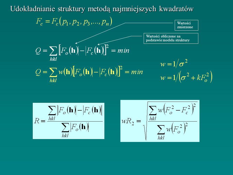 Udokładnianie struktury metodą najmniejszych kwadratów Wartości zmierzone Wartości obliczone na podstawie modelu struktury