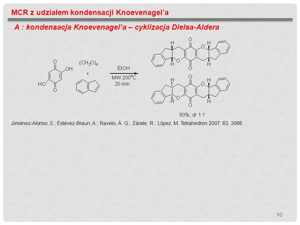 10 MCR z udziałem kondensacji Knoevenagela A : kondensacja Knoevenagela – cyklizacja Dielsa-Aldera Jiménez-Alonso, S.; Estévez-Braun, A.; Ravelo, Á. G