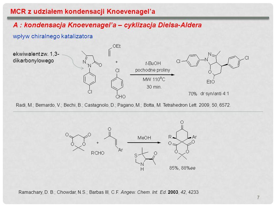MCR z udziałem kondensacji Knoevenagela A : kondensacja Knoevenagela – cyklizacja Dielsa-Aldera Ramachary, D. B.; Chowdar, N.S.; Barbas III, C.F. Ange