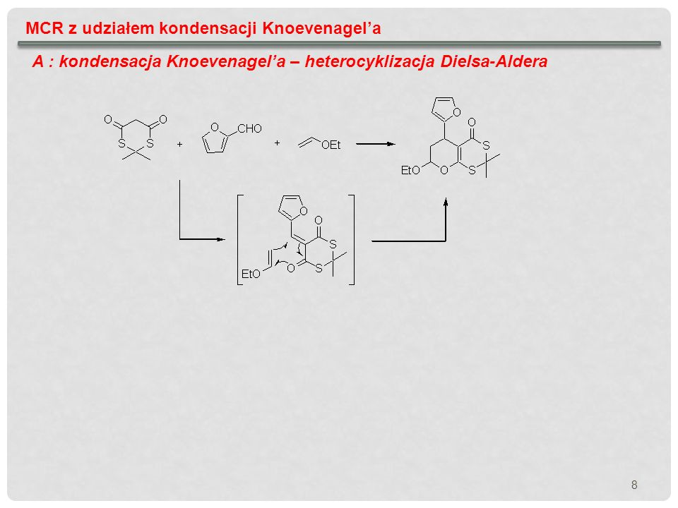 MCR z udziałem kondensacji Knoevenagela A : kondensacja Knoevenagela – cyklizacja Dielsa-Aldera Synteza bibliotek indolowych alkaloidów o znaczeniu farmakologicznym Tietze, L.