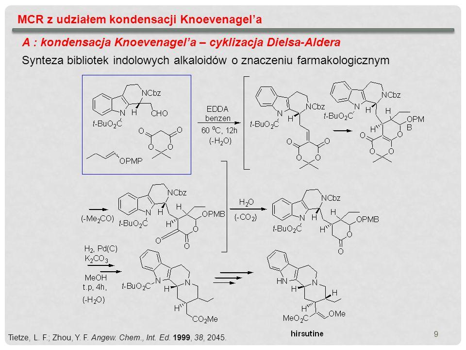 MCR z udziałem kondensacji Knoevenagela A : kondensacja Knoevenagela – cyklizacja Dielsa-Aldera Synteza bibliotek indolowych alkaloidów o znaczeniu fa