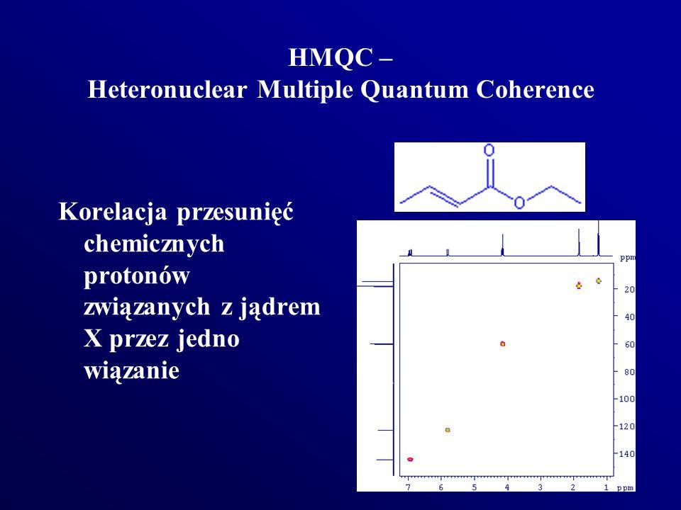 HMQC – Heteronuclear Multiple Quantum Coherence Korelacja przesunięć chemicznych protonów związanych z jądrem X przez jedno wiązanie