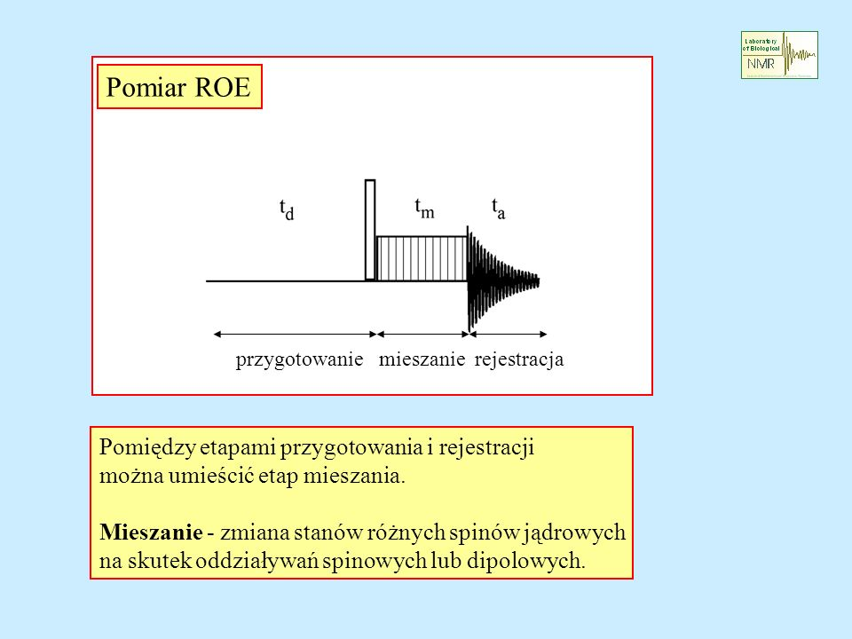 Pomiar ROE przygotowanie mieszanie rejestracja Pomiędzy etapami przygotowania i rejestracji można umieścić etap mieszania. Mieszanie - zmiana stanów r