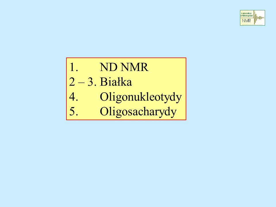 1. ND NMR 2 – 3. Białka 4. Oligonukleotydy 5. Oligosacharydy