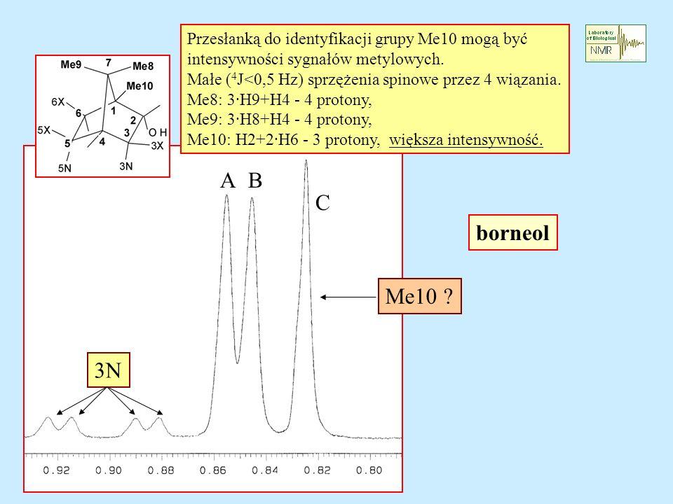 borneol Przesłanką do identyfikacji grupy Me10 mogą być intensywności sygnałów metylowych. Małe ( 4 J<0,5 Hz) sprzężenia spinowe przez 4 wiązania. Me8