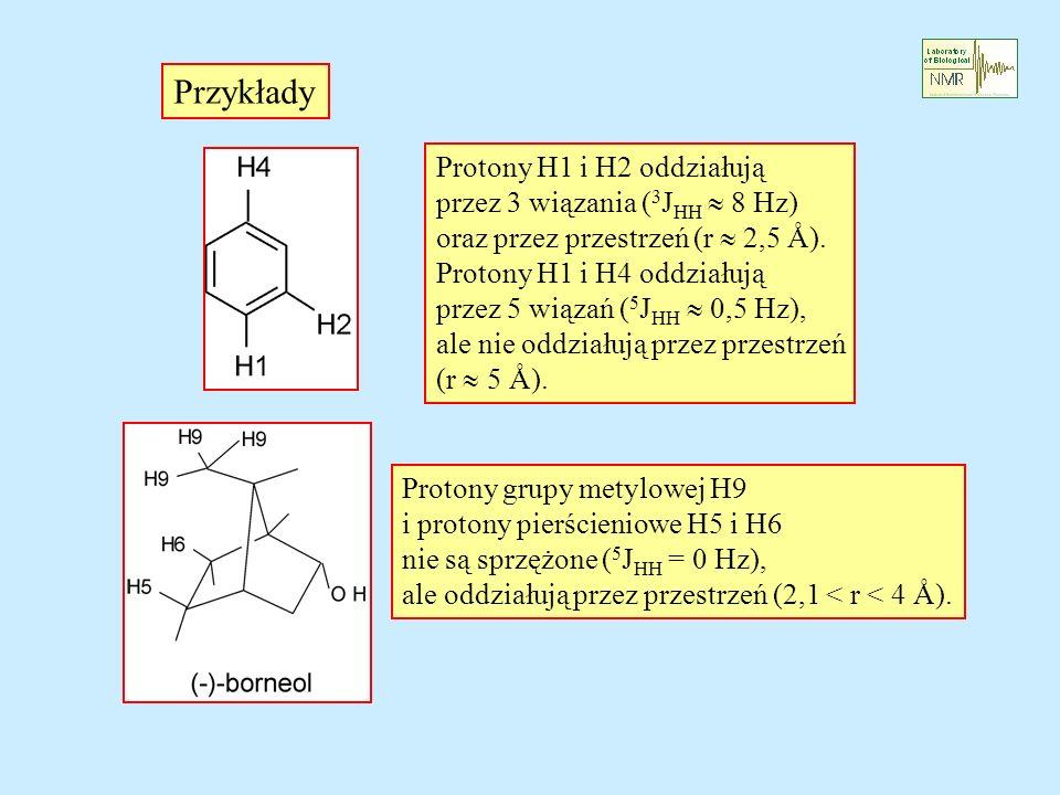 Przykłady Protony H1 i H2 oddziałują przez 3 wiązania ( 3 J HH 8 Hz) oraz przez przestrzeń (r 2,5 Å). Protony H1 i H4 oddziałują przez 5 wiązań ( 5 J